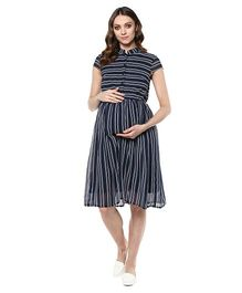 Mine4Nine Short Sleeves Stripes Maternity Dress - Navy Blue