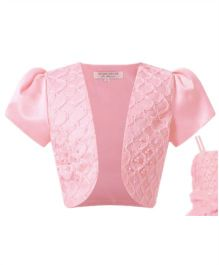 Wonderland Puffed Sleeves Party Shrug - Pink