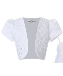 Wonderland Puffed Sleeves Party Shrug - White
