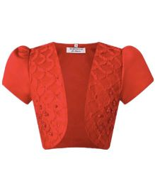 Wonderland Puffed Sleeves Party Shrug - Red