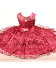 Wonderland Beautiful Lace Flared Party Dress - Wine Red