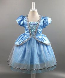 Wonderland Puffed Sleeves Elegant Princess Dress - Blue