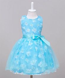 Wonderland Beautiful Floral Dress With Detachable Belt - Light Blue