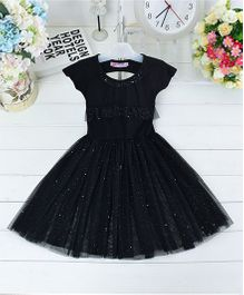 Wonderland Stylish Tutu Dress With Beautiful Back Pattern - Black