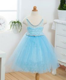 Wonderland Tutu Party Dress With Elgant Stone Neck And Waist Line - Light Blue