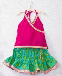 Kidcetra Halter Neck Top & Rose Printed Lehenga - Green & Pink