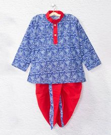 Kidcetra Flower Printed Kurta With Contrast Dhoti - Blue & Red