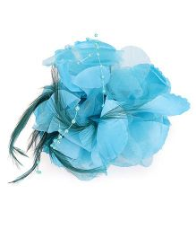 Bowtastic Flower With Feather Clip - Blue