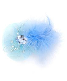 Bowtastic Bow With Diamond & Feather Clip - Blue