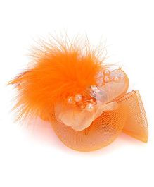 Bowtastic Bow With Diamond & Feather Clip - Orange