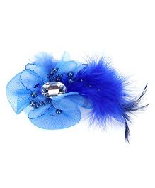 Bowtastic Bow With Diamond & Feather Clip - Ink Blue