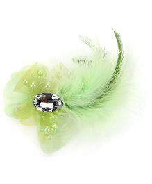 Bowtastic Bow With Diamond & Feather Clip - Green
