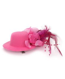 Bowtastic Cap And Feather Clip - Hot Pink