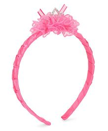 Bowtastic Diamond Crown Hair Band - Dark Pink