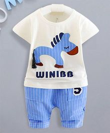 Petite Kids Boys Horse Printed Top & Capri Set - Blue