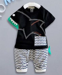 Petite Kids Shark Print Top & Shorts Set - Black