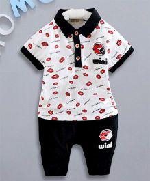 Petite Kids Lips Print 2 Piece Boys Knitted Set - Black
