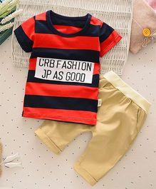 Petite Kids 2 Piece Boys Striped Tee & Capri Set - Red