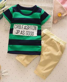 Petite Kids 2 Piece Boys Striped Tee & Capri Set - Green