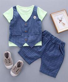 Petite Kids Boys 2 Piece Knitted Waist Coat & Shorts Set - Green