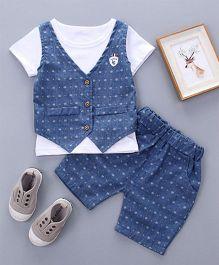 Petite Kids Boys 2 Piece Knitted Waist Coat & Shorts Set - White