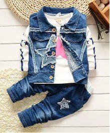Petite Kids T-Shirt Jacket & Pant 3 Piece Set - Blue