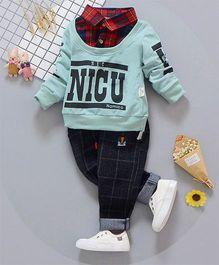 Petite Kids Collar Neck Tee & Pant 2 Piece Set - Green