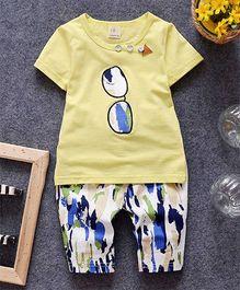 Petite Kids Specks Print Tee & Shorts Set - Yellow