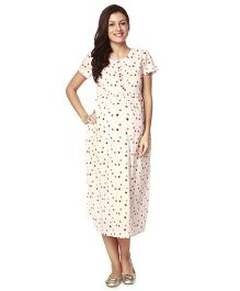 Nine Short Sleeves Maternity Nursing Gown Polka Dot Print - Off White