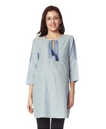 Nine Maternity Cotton Tunic With Designer Yoke - Blue