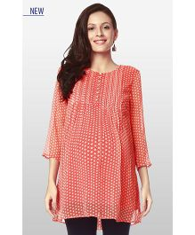 Nine Three Fourth Sleeves Maternity Wear Printed Polyester Tunic - Orange