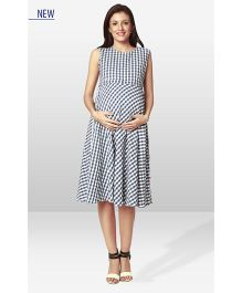 Nine Maternity Check Dress - Blue White