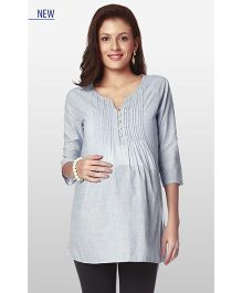 Nine Pintuck Maternity Wear Tunic - Blue