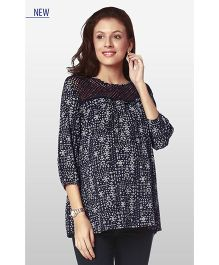 Nine Three Fourth Sleeves Maternity Wear Printed Blouse - Navy Blue