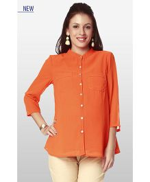 Nine Three Fourth Sleeves Maternity Wear Shirt - Orange