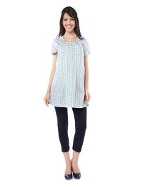 Nine Half Sleeves Maternity Nursing Printed Tunic - Grey