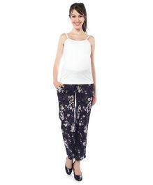 Nine Maternity Singlet Top And Printed Pajama Nightwear - White Deep Navy