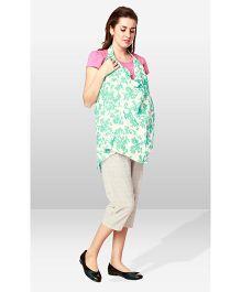 Nine Maternity Wear Magical Nursing Scarf - White Green