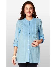 Nine Maternity Wear Front Open Pintuck Tunic - Sky Blue
