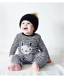 Pre Order - Adores Long Sleeve Stripe Printed Toddler Romper - Black