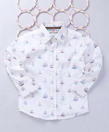 Popsicles Clothing by Neelu Trivedi Sailboat Printed Shirt - White