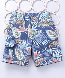 Popsicles Clothing by Neelu Trivedi Tropical Printed Shorts - Blue