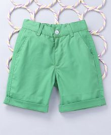 Popsicles Clothing by Neelu Trivedi Twill Turn Up Shorts - Green