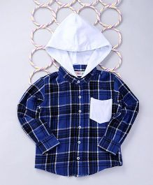 Popsicles Clothing by Neelu Trivedi Gingham Check Shirt With Hood - Blue & White