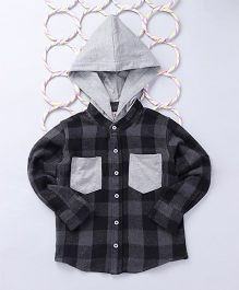 Popsicles Clothing by Neelu Trivedi Gingham Check Shirt With Hood - Grey & Black