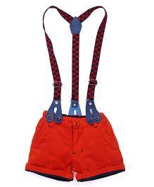 Olio Kids Shorts With Checks Suspenders - Orange
