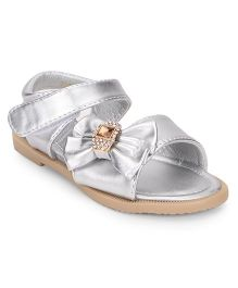 Bash Open Toe Sandals Studded Bow Detail - Silver