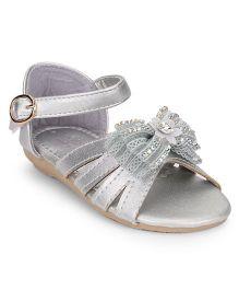 Bash Sandals Studded Bow Detail - Silver
