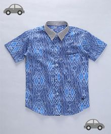 Milonee Casual Shirt With Spectacles Print & Stripes Collar - Blue