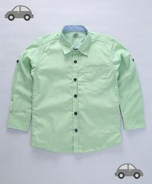 Milonee Solid Pattern Full Sleeves Shirt - Green